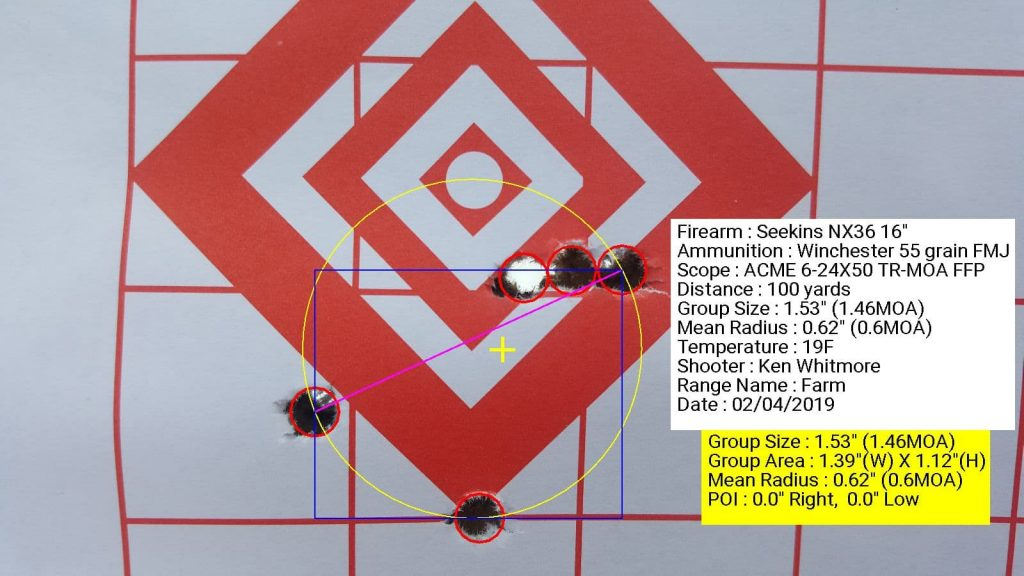 Seekins Precision NX3G with ACME 6-24x50 TR-MOA FFP using Winchester 55 grain FMJ 1.53 grouping