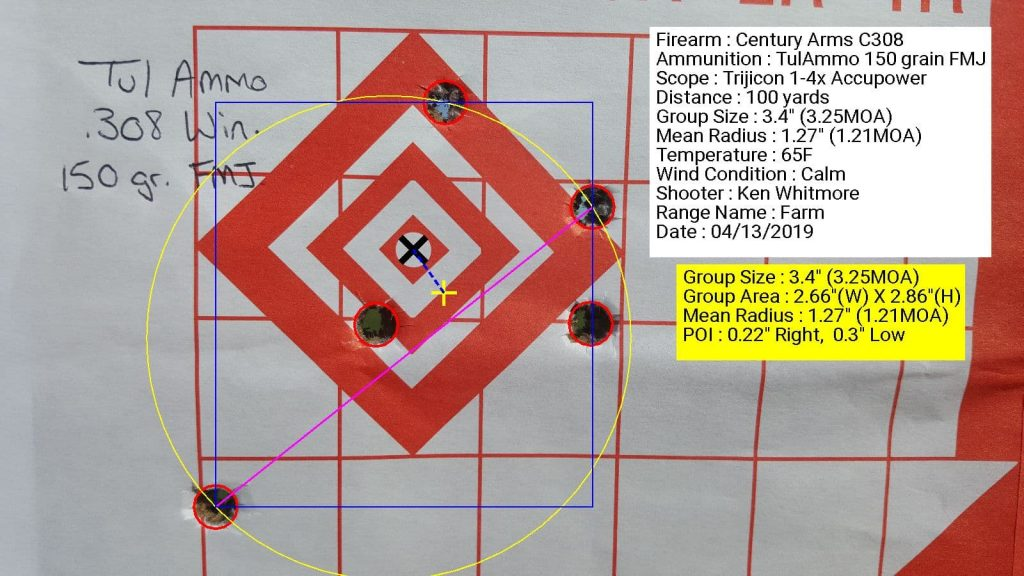 Century Arms C308 with Trijicon 1.4x accupower using TulAmmo 150 grain FML with 3.4 inch grouping at 100 yards
