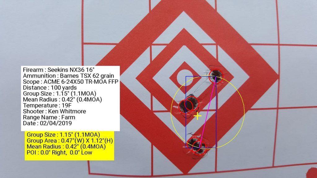 Seekins Precision NX3G with ACME 6-24x50 TR-MOA FFP using Barnes TSX 62 grain FMJ 1.15 inch grouping