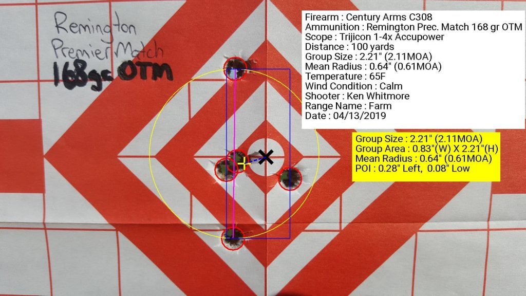Century Arms C308 with Trijicon 1.4x accupower using Remington Precision Match 168 grain OTM with 2.21 inch grouping at 100 yards