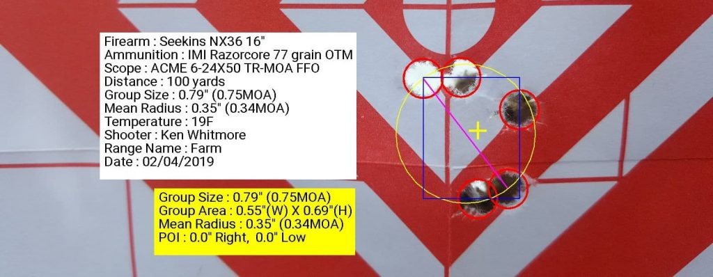 Seekins Precision NX3G with ACME 6-24x50 TR-MOA FFP using IMI Razorcore 77 grain OTM 0.75 inch grouping