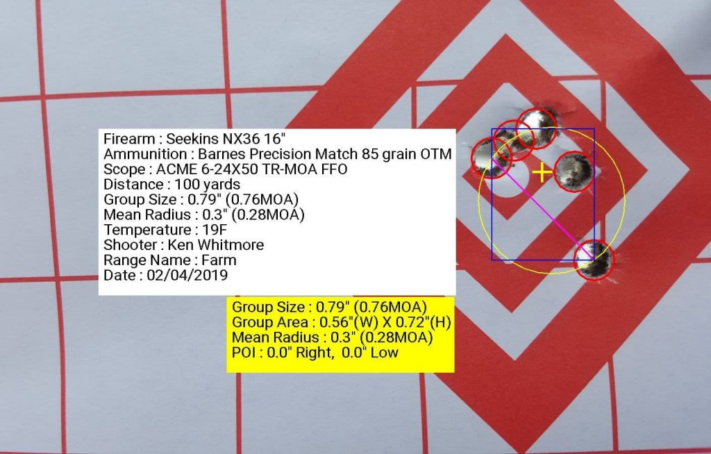 Seekins Precision NX3G with ACME 6-24x50 TR-MOA FFP using Barnes Precision Match 85 grain OTM 0.79 inch grouping